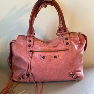 Balenciaga Classic City Town Moto Bag Pink Leather